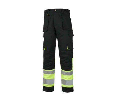 pantalón alta visibilidad negro amarillo reflectante de trabajo