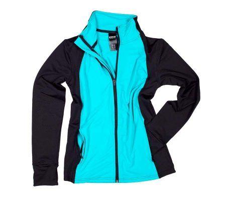 chaqueta deportiva mujer negro azul turquesa muy comoda manga larga