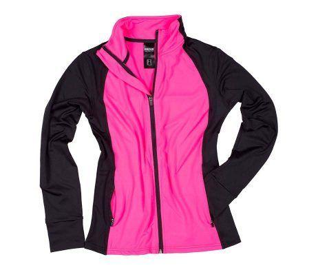 chaqueta deportiva mujer negro rosa fuxia muy comoda manga larga