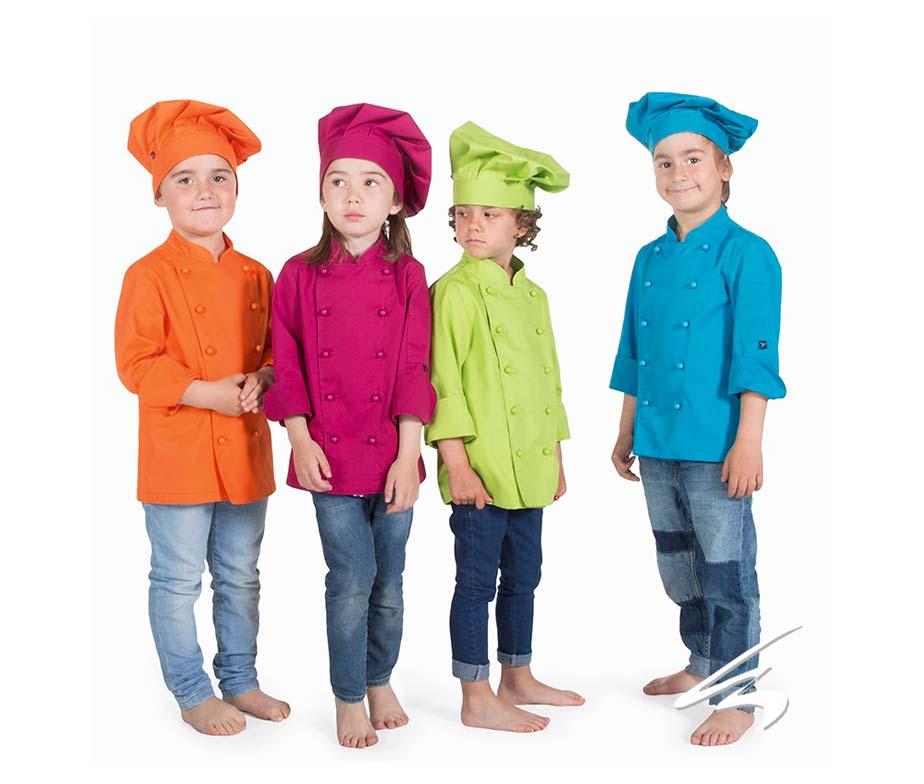 Casaca y chaqueta cocinero infantil colores para niños y niñas. Set ... 8e2ad0833ed