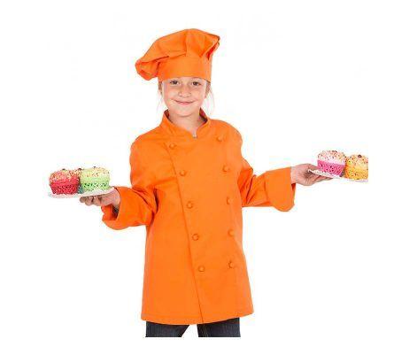 casaca cocinero infantil niños y niñas naranja