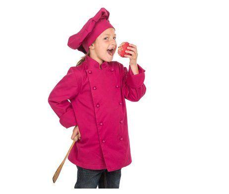 casaca cocinero infantil niños y niñas rosa fuxia