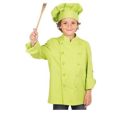 casaca cocinero infantil niños y niñas verde