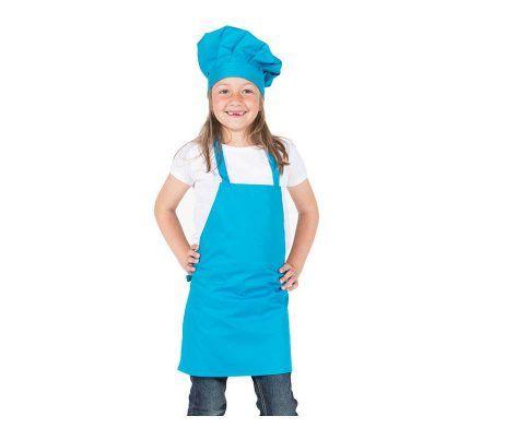 delantal con peto infantil azul turquesa