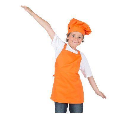 delantal con peto infantil naranja