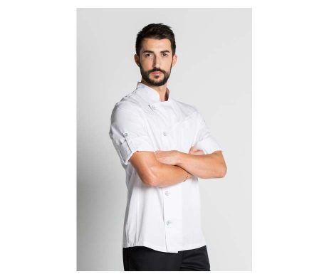 chaqueta o casaca de cocinero color blanco, de manga corta o larga