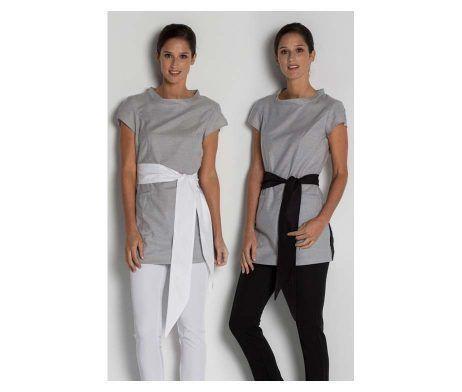 casaca mujer spas y centro de estética color gris