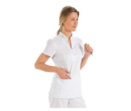 casaca mujer blanca chaqueta cuello mao