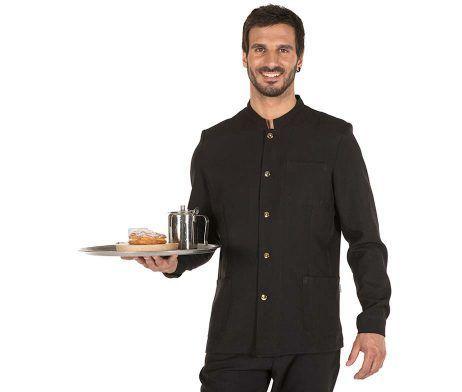 chaqueta camarero, conserje y portero negra cuello mao