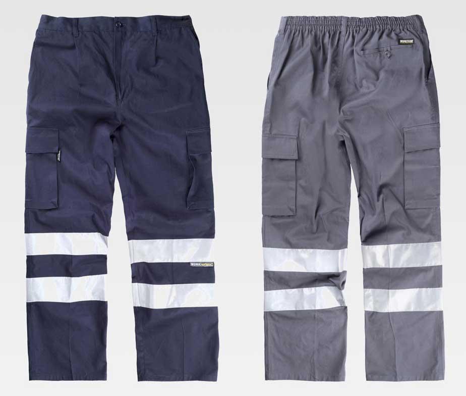 397963e04df Pantalón de trabajo multibolsillos con cintas reflectantes 100% algodon