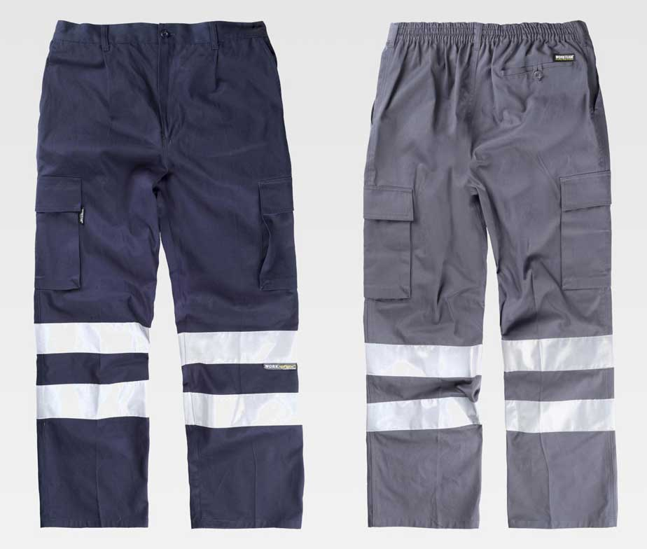 Pantalon De Trabajo Multibolsillos Con Cintas Reflectantes 100 Algodon