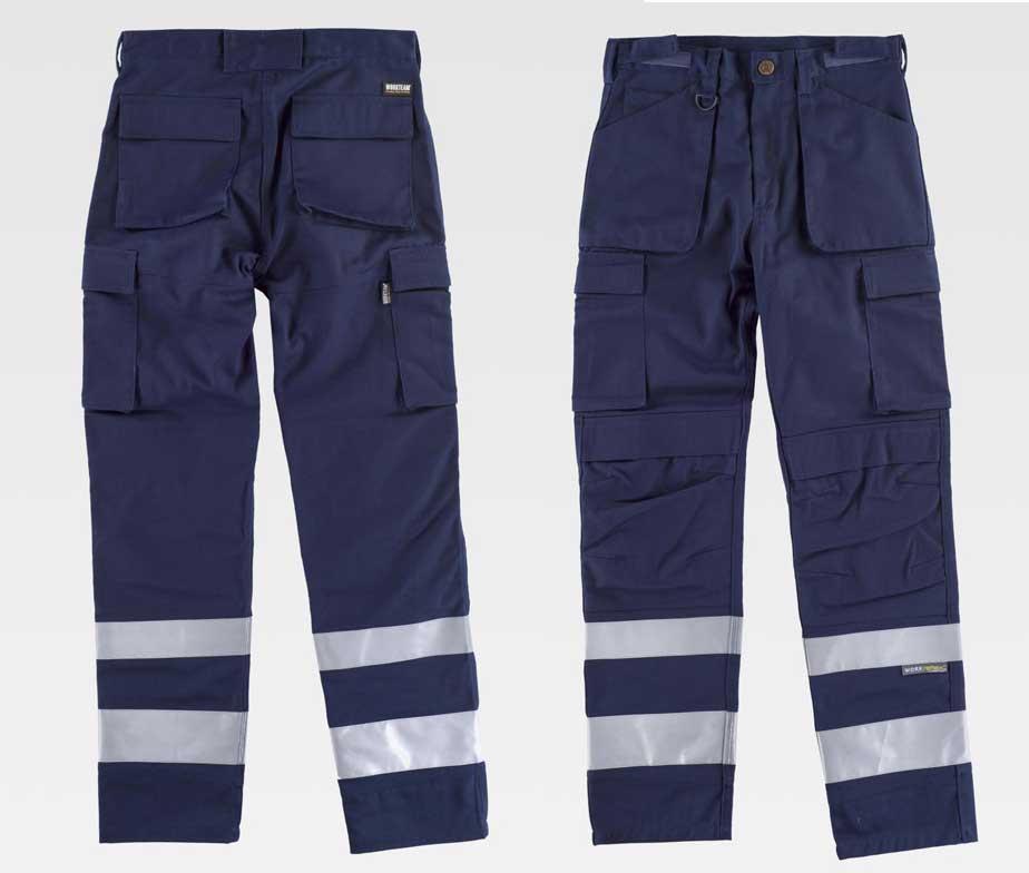 Pantalon De Trabajo Multibolsillos Con Cintas Reflectantes Workteam