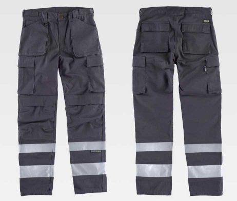 Pantalón trabajo industrial multibolsillos reflectante
