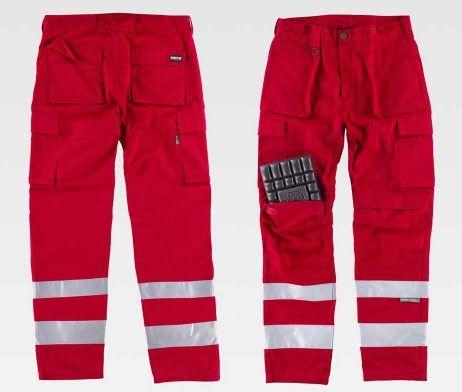 pantalon trabajo rojo industrial multibolsillos reflectante