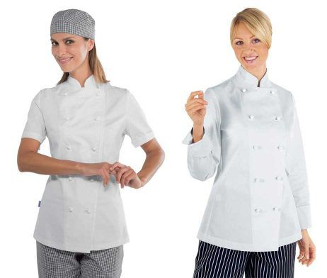 chaqueta blanca chef mujer clasica