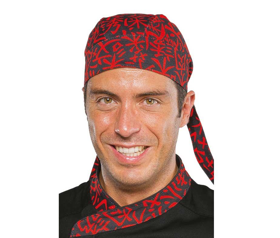 719343a2c91 Gorro bandana chef para cocina con dibujo de diseño oriental. Isacco.