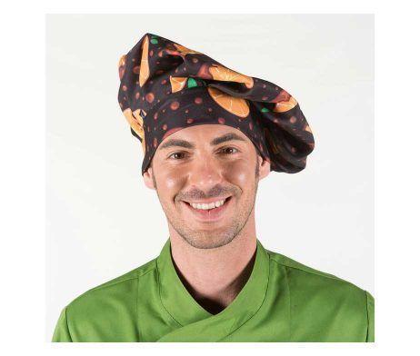 gorro cocinero estampado chicote regulable con velcro tipo champiñon