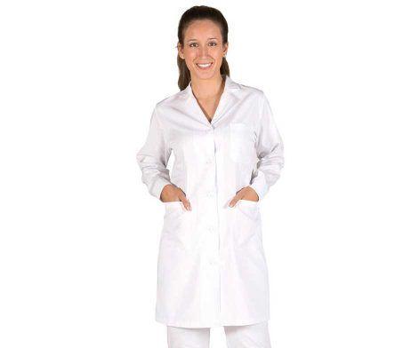 bata manga larga con puños blanca y cuello solapa para trabajar clinicas