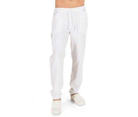 Pantalón blanco sanitario unisex multibolsillos GARYS 7029 holgado blanco