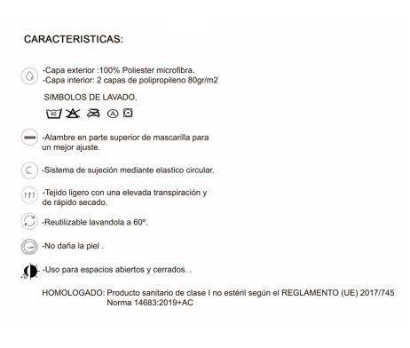 mascarilla blanca textil lavable reutilizable covid-19 homologada