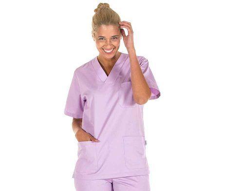 casaca lila cuello pico enfermeros