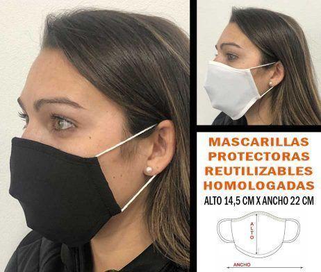 mascarilla protección reutilizable textil lavable reutilizable covid-19 homologada