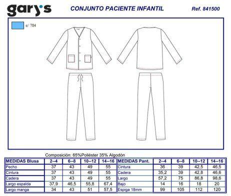 Pijama para pacientes infantil de casaca y pantalón hospital