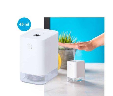 Dispensador automático de alcohol para higiene y limpieza de la piel, con sensor de movimiento de infrarrojos y led indicador.