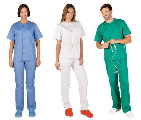 Uniforme de trabajo blanco azul verde enfermero enfermera sanitario