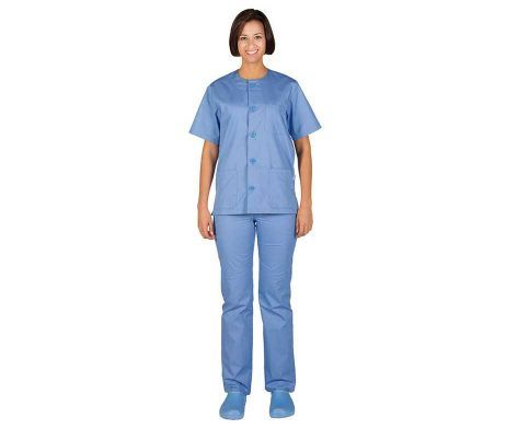 Pijama sanitario barato azul botones casaca pantalón comodo