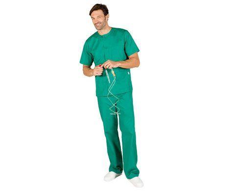 Pijama sanitario barato verde botones casaca pantalón comodo