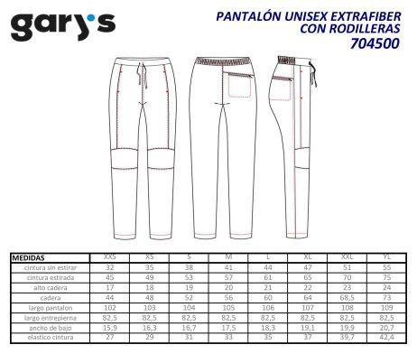 Pantalón blanco sanitario unisex GARYS 7045 holgado rodilleras